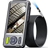 5 inches IPS Inspection Camera, Teslong Dual Lens Endoscope-Borescope Camera, 5mm Dia. 16.4ft Semi-Rigid Cable Scope Camera, IP67 Waterproof with 7 LEDs, Zoom, 6h Runtime, Carrying Case, 32GB Card