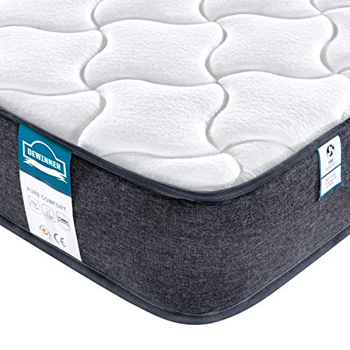 DEWINNER Memory Foam Mattress, Breathable Pocket Sprung, Oeko-Tex Certified Medium Firm Feel 8.7inch Depth Individually Spring and Skin Friendly Knitted Extreme Comfort Fabric Mattress|4FT6 Double