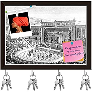 ArtzFolio Victorian Art Of The Theatre Of Dionysos At Athens Key Holder Hooks cum Bulletin Notice Pin Board cum Dark Brown Framed Painting 7.9 x 6inch