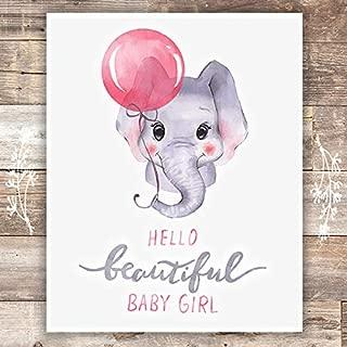Girls Nursery Decor Art Print - Unframed - 8x10 | Elephant Baby Girl