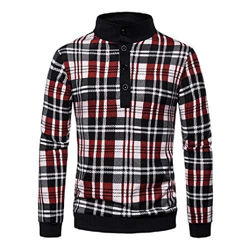 Winwinyou Men Plaid Pattern Knit Pullover Lapel Sweaters Red XL