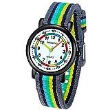 Reloj Analógico para Niños Niñas, Fácil de Leer Reloj Impermeable para Niños Rainbow y Correa de Nylon Suave para Niños y Niñas