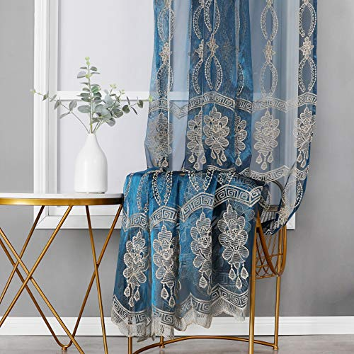 Jiyoyo Embroidered Window Sheer Home Decoration Rod Pocket Drape Panel Voile Curtain for Parlor Living Room(1 Panel, W 50 x L 84 inch, Blue Bottom + Gold Embroidery)