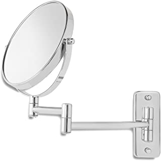 Saganizer Wall Mirror Makeup Mirror Two-Sided Swivel Mounted Mirror with 7X Magnification Great Mirrors for Wall
