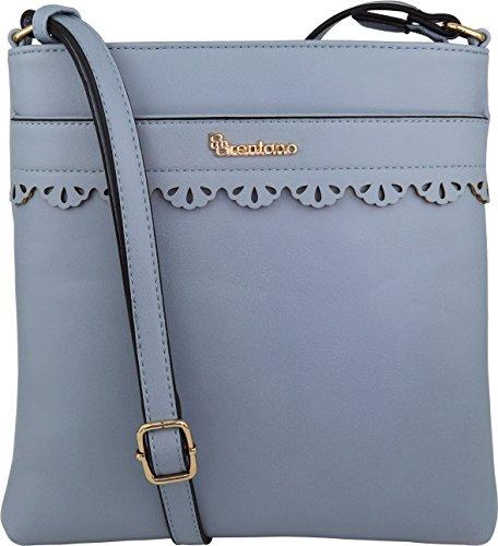 B BRENTANO Vegan Medium Crossbody Handbag Purse (Blue 1)