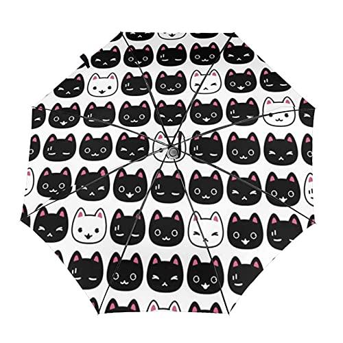 自動折りたたみ傘猫の子猫の頭防風、防水、耐紫外線性があり、晴れや雨の日に適していますユニセックス。