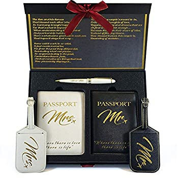 DELUXY Mr and Mrs Luggage Tags and Passport Holder- Honeymoon Essentials Travel Luggage Tags - Cute Bridal Shower Gifts Wedding Gifts for Couple 2021 Engagement Gifts for Couples Bride and Groom