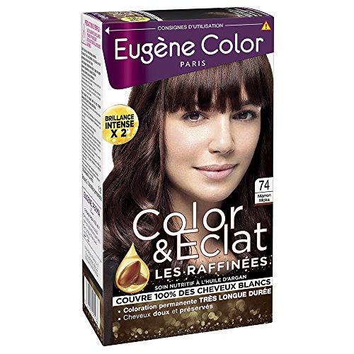 Eugène Color - Color & Eclat - Les Raffinées - N°74 Marron Moka - Coloration Permanente brillance Longue Durée à l'Huile d'Argan