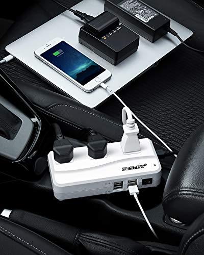 BESTEK 200W Power Inverter DC 12V to 110V AC Inverter with 4.2A 4-Port USB Car Adapter [ETL Listed]