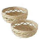 Juego de 2 cestas decorativas de hojas de plátano natural, 10-12 cm de alto, 25-30 cm de diámetro