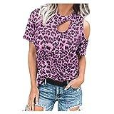 Felpa da donna alla moda, con spalle scoperte, motivo leopardato, a maniche corte Colore: rosa. XL
