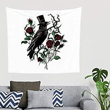 Yhjdcc Gypsy Gothic Ravens Red Roses Tattoos Inspirational Crow Rose Thorn Caw Artwork Wall Hanging Tapestry Traditional Tapestry Wall Ceiling Veranda Hanging 150cmx200cm