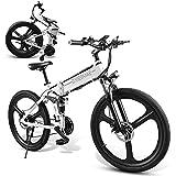 JINGJIN Bicicleta Eléctrica Plegable, Bicicleta de Montaña 26' para Mujeres y Bici Eléctrica de Ciudad Motor, 35km/h, Aleación de Aluminio, Contador Central LCD con USB,White-B