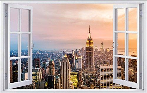 DesFoli New York City USA 3D Look Wandtattoo 70 x 115 cm Wanddurchbruch Wandbild Sticker Aufkleber F299