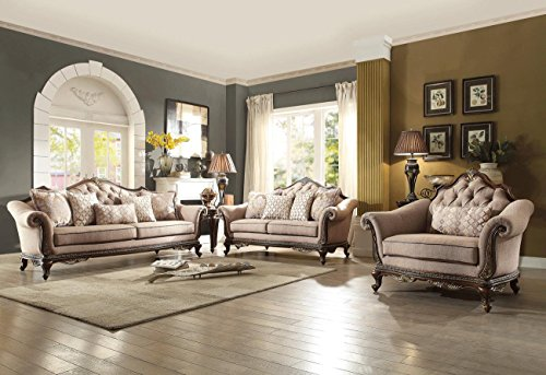 HEFX Bardonia French Country Sofa, Love Seat and Chair in Chenille Coffee Brown