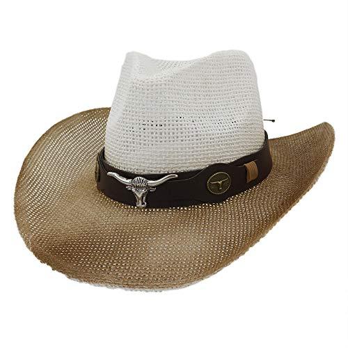 Women Paille Panama Chapeaux d'été for Les Femmes Jazz Bobs for la Danse avec Bull Head en Cuir Hatband Caps (Color : 4, Size : 56-58cm)