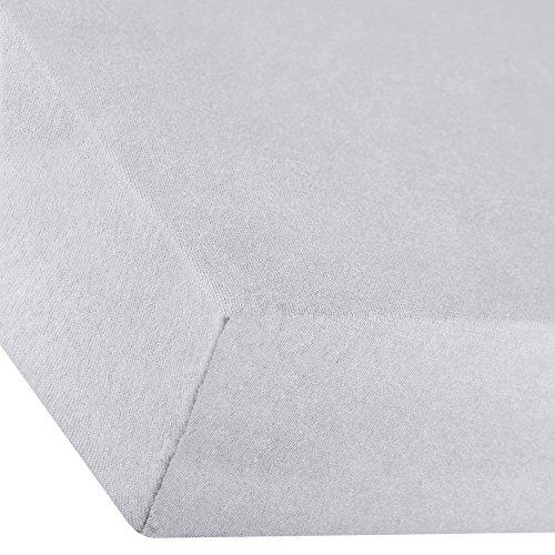 aqua-textil Premium Spannbettlaken 180x200-200x220 cm Silber grau Baumwolle Bettlaken Betttuch Elastan Spannbetttuch