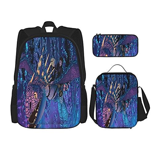 Dra_Gon Tra_Iner Night Fu-Ry - Juego de 3 piezas para niños y niñas, mochila escolar para adolescentes con bolsa de almuerzo aislada y estuche para lápices, Negro 7, Talla única