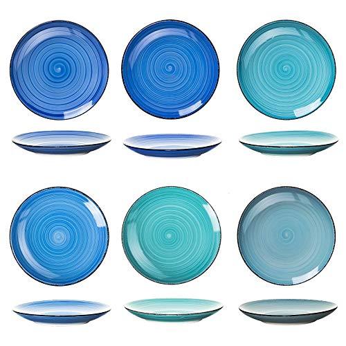 esto24 6er Set große Speiseteller Porzellan Geschirr in tollen Farben für Ihre liebsten Speisen (Teller Blau)