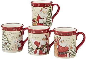 4-Set Certified International Holiday Wishes Mugs 18 oz
