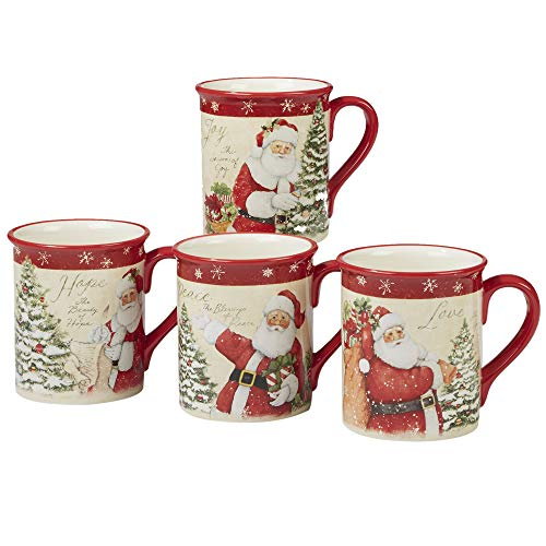 Certified International Holiday Wishes 18 oz. Mugs, Set of 4 Assorted Designs, One Size, Mulicolored