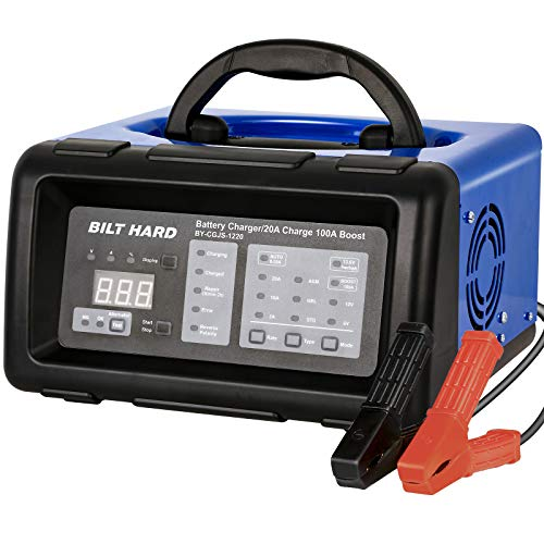 BILT HARD 2/10/20/100A 6/12V Smart Battery Charger and Engine Start, Fully Automatic Battery Maintainer, Desulfator and Diagnostic with Alternator Check