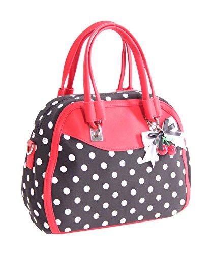 SugarShock Polka Dots Damen Handtasche Elsa Rockabilly Tasche, Farbe:Schwarz