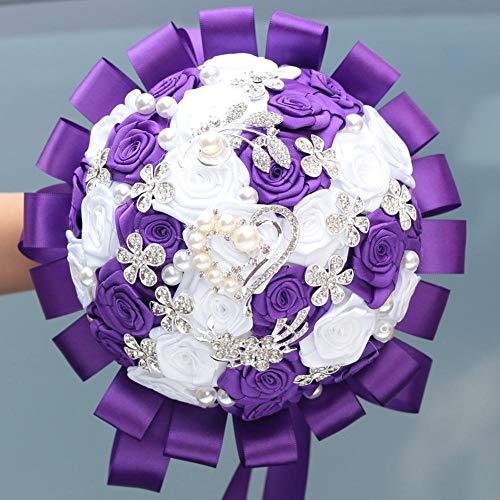 xiangqian-sph Brautstrauß Brautstrauß mit Strass Brautstrauß Brautstrauß, Blumenstrauß für Hochzeit Violett/Weiß