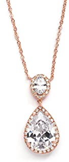 Mariell Cubic Zirconia Bridal Pendant Necklace with Oval-Cut Halo and Bold Pear-Shaped Teardrop Gemstone