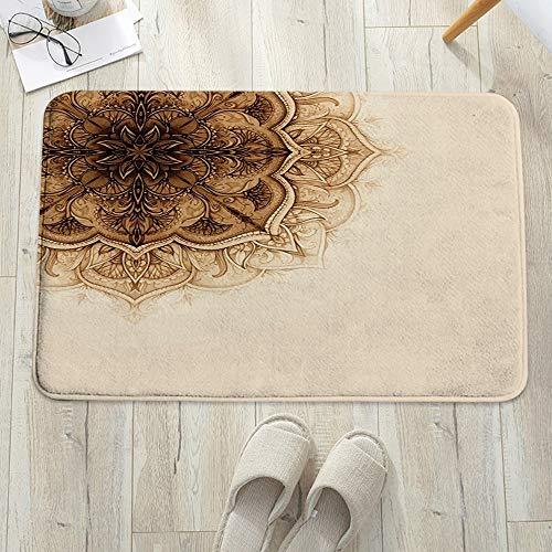 Alfombrilla de baño antideslizante, para baño o ducha,Henna, Vintage estilo dibujado a mano Mandala Obra de arte Ado, alfombra de suelo absorbente, para sala de estar, sofá, cojín, caucho, 60 x 100 cm