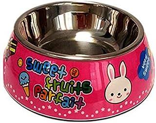 Pet Water Dispenser Cartoon Rabbit Stainless Steel Dog Bowl Anti-Skid Pet Bowl (Pink M) Cat Travel Drink Bottle