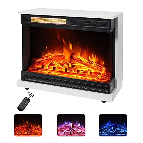 Maxhonor 26 inch Freestanding Electric Fireplace Stove Space Heater with 3D Realistic Flame, Faux Logs, Wood Mantel, Remote Control, 750W/1500W, Ivory White