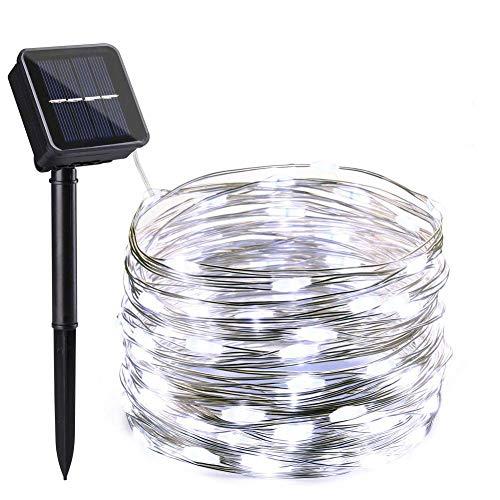 NEXVIN Solar Lichterkette Außen, 10m 100 LED Solar Kupferdraht Lichterkette, 8 Modi Wasserdicht Solarlichterkette Aussen Deko für Garten, Terrasse, Balkon, Hochzeit (Kaltweiß)