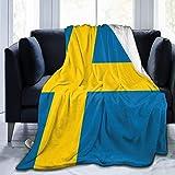 huibe Schweden Flagge Soft Throw Wrap 80x60 Zoll leichte Flanell Fleece Decke für Couch Bett Sofa Travelling Camping für Kinder Erwachsene