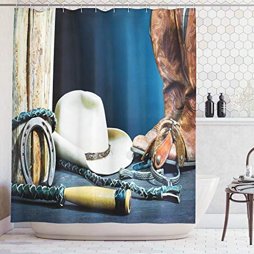 Shine-Home Duschvorhänge aus Polyester, Pferde-Hintergr& mit antikem Hufeisenhut, Cowboy-Texas, wasserdicht, langlebiger Stoff, Badewannen-Vorhang-Set mit Haken 54''W x 78''L Blau/Braun