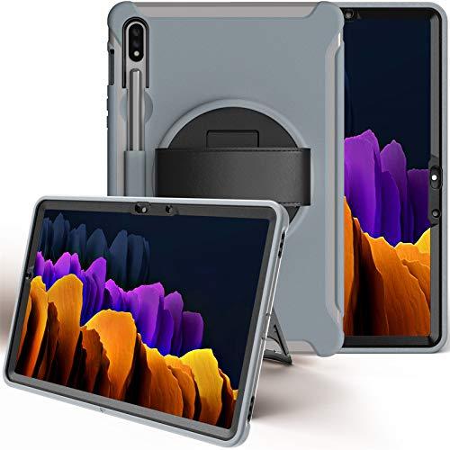 Funda para Galaxy Tab S7 11-Pulgada 2020 (SM-T870/T875/T878), Cubierta Protectora Completa a Prueba de Golpes de Tres Capa con 360° Rotativo Soporte, Funda Robusta Antichoque,Gray