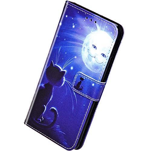 Herbests Kompatibel mit Samsung Galaxy A80 / A90 Handyhülle Hülle Flip Case Bunt Muster Leder Tasche Schutzhülle Klappbar Bookstyle Lederhülle Ledertasche mit Magnet Kartenfach,Süß Katze