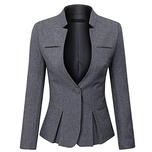 YYNUDA Blazer - Giacca estiva da donna, slim fit, con bottone a pressione, corta, per ufficio grigio scuro M