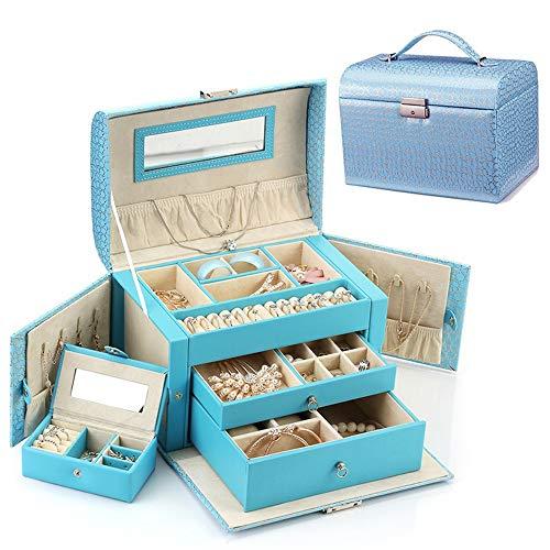 CaoDquan Sac Cosmétique Magasin De Bijoux De Femmes Boîte De Rangement Parfaite for L'entreprise De Stockage De Petites Pièces LadieSuitcase Sac De Rangement Cosmétique (Color : Blue)