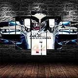 hgjfg Cuadro sobre Impresión Lienzo 5 Piezas Listo para Colgar un Marco Lewis Hamilton Campeón de F1 Hd Arte De Pared Modulares Sala De Estar Dormitorios Decoración Para El Hogar Póster