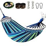 Yuxuan store Hamaca doble de 280 cm, para exteriores, con varillas de madera y bolsa de transporte, para balcón, jardín, camping, senderismo, soporta hasta 300 kg, color azul