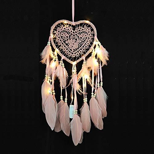 RAILONCH Herz Traumfänger Boho-Stil Handgefertigt LED Licht Wandbehang Romantische Dekoration (Pink,Mit Lichtern)