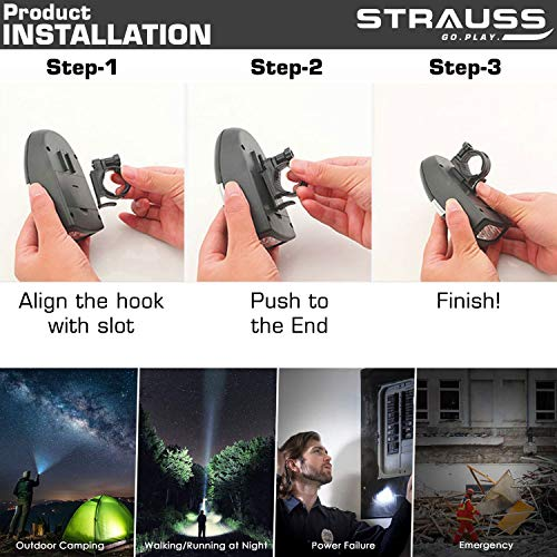 Strauss Bicycle Frame Bag, (Black) and Bicycle LED Headlight with Horn