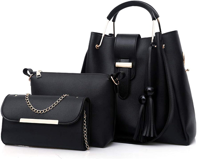 Black PU Leather Handbag+Shoulder Bag+Purse 3pcs Set Tote for Women with Zipper and Pockets