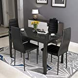 HCROMAT 5 Piece Faux Dining Set, Modern Metal Kitchen Table with High Black Chairs Home Furniture for Breakfast Nook Small Spaces(Upgrade Style), 47.25'' L x 27.56'' W x 29.5'' H