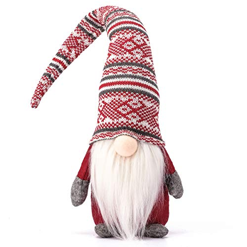 Funoasis Holiday Gnome Handmade Swedish Tomte, Christmas Elf Decoration Ornaments Thanks Giving Day Gifts Swedish Gnomes tomte (Red Stripe - 19...
