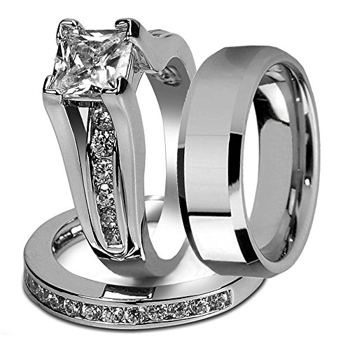 Marimor Jewelry His and Hers Stainless Steel Princess Wedding Ring Set & Beveled Edge Wedding Band Women's Size 07 Men's 08mm Size 12