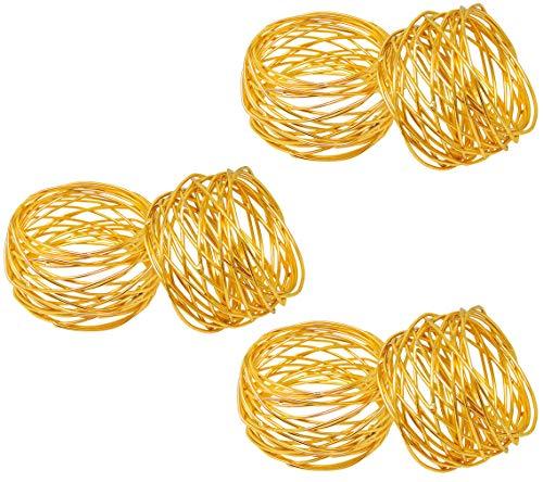 SKAVIJ Gold Metallmaschen Serviettenringe Hochzeit Dekoration für Tisch (6 stück)