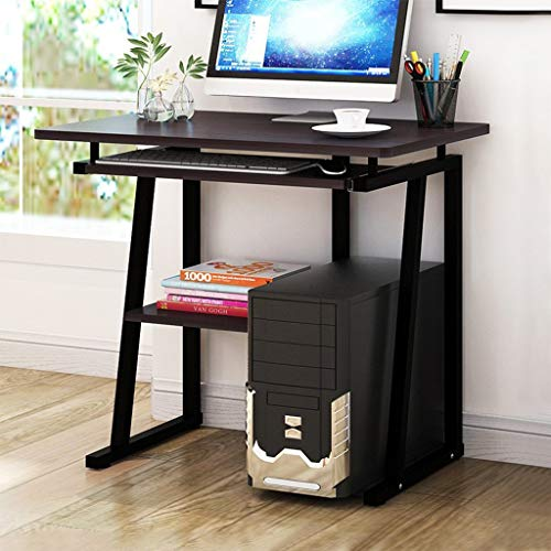 Compact Computer Desk With Book Shelf And Keyboard Panel - Gaming Desk Computer Table for Home Office Sturdy Desk Workstation Laptop PC Desk, Black