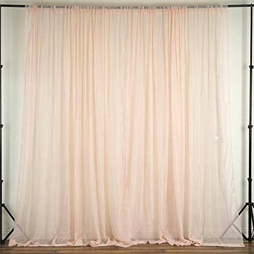 Tableclothsfactory 10FT Fire Retardant Blush Sheer Voil Curtain Panel Backdrop - Premium Collection